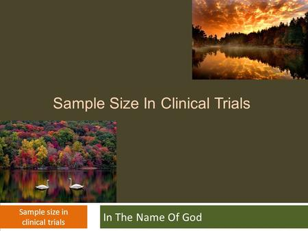 Sample Size In Clinical Trials In The Name Of God Sample size in clinical trials.