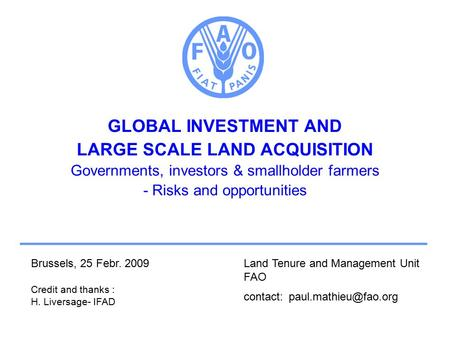 GLOBAL INVESTMENT AND LARGE SCALE LAND ACQUISITION Governments, investors & smallholder farmers - Risks and opportunities Land Tenure and Management Unit.