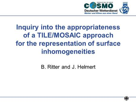 Inquiry into the appropriateness of a TILE/MOSAIC approach for the representation of surface inhomogeneities B. Ritter and J. Helmert.