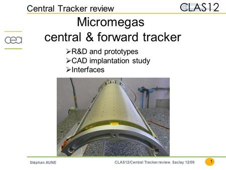1 CLAS12/Central Tracker review. Saclay 12/09 Stéphan AUNE Central Tracker review Micromegas central & forward tracker  R&D and prototypes  CAD implantation.
