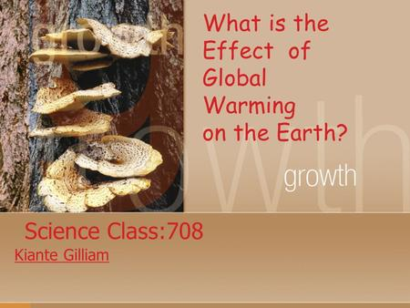 Science Class:708 Kiante Gilliam What is the Effect of Global Warming on the Earth?