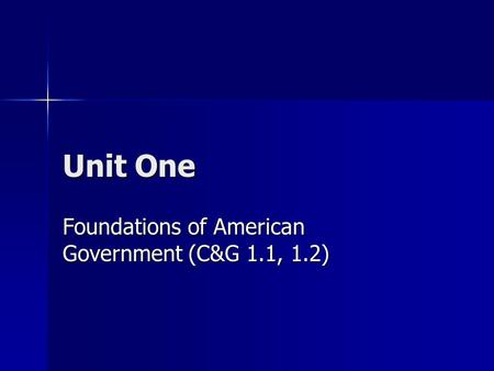 Unit One Foundations of American Government (C&G 1.1, 1.2)