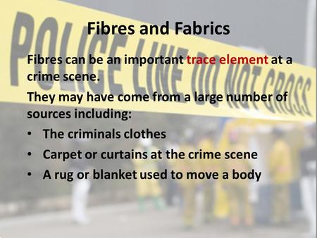 Fibres and Fabrics Fibres can be an important trace element at a crime scene. They may have come from a large number of sources including: The criminals.
