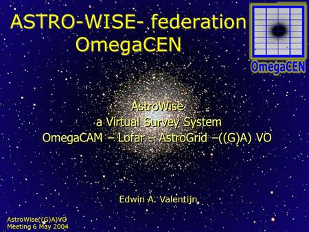 AstroWise((G)A)VO Meeting 6 May 2004 ASTRO-WISE- federation OmegaCEN AstroWise a Virtual Survey System OmegaCAM – Lofar – AstroGrid –((G)A) VO AstroWise.