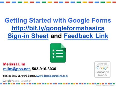 Getting Started with Google Forms Sign-in Sheet and Feedback Link