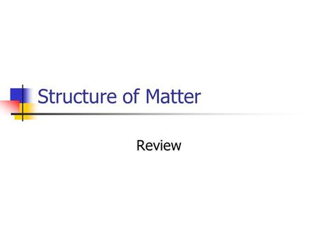 Structure of Matter Review. Distinguish between atoms and molecules Atom: the smallest unit of an element that maintains the properties of that element.