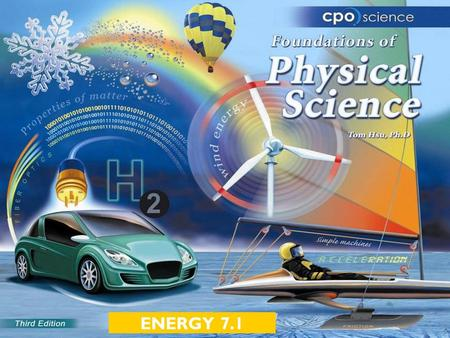 ENERGY 7.1. Chapter Seven: Energy  7.1 Energy and Systems  7.2 Conservation of Energy  7.3 Energy Transformations.
