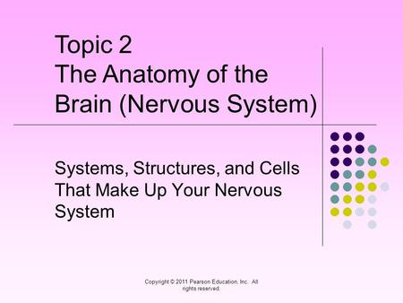 Copyright © 2011 Pearson Education, Inc. All rights reserved. Systems, Structures, and Cells That Make Up Your Nervous System Topic 2 The Anatomy of the.