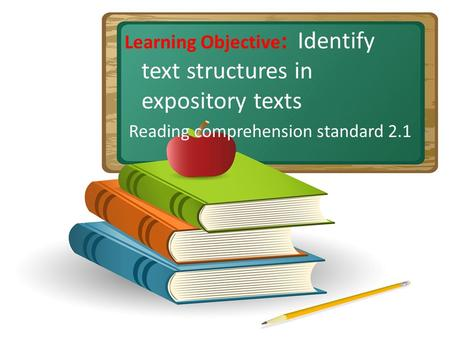 Learning Objective : Identify text structures in expository texts Reading comprehension standard 2.1.