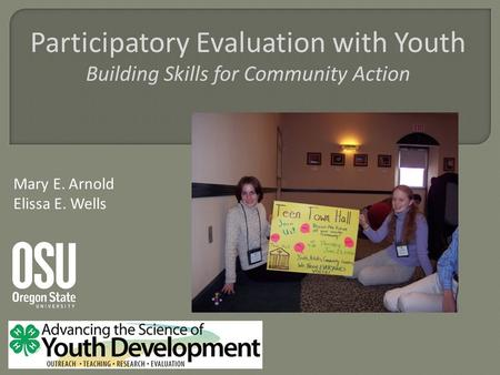 Participatory Evaluation with Youth Building Skills for Community Action Mary E. Arnold Elissa E. Wells.