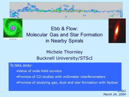 STScI March 24, 2004 Ebb & Flow: Molecular Gas and Star Formation in Nearby Spirals Michele Thornley Bucknell University/STScI With grateful thanks to: