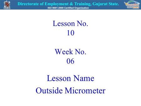 Lesson Name Outside Micrometer