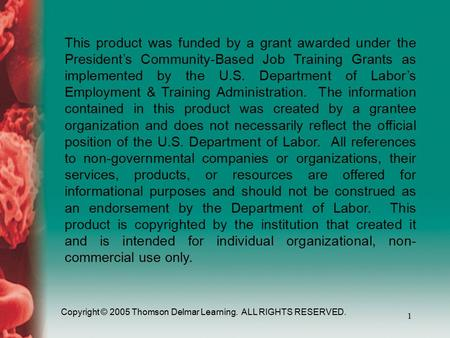 Copyright © 2005 Thomson Delmar Learning. ALL RIGHTS RESERVED. 1 This product was funded by a grant awarded under the President's Community-Based Job Training.