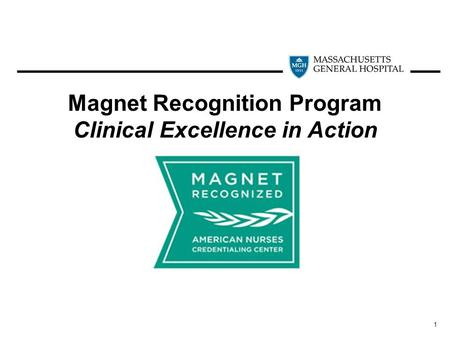1 Magnet Recognition Program Clinical Excellence in Action.
