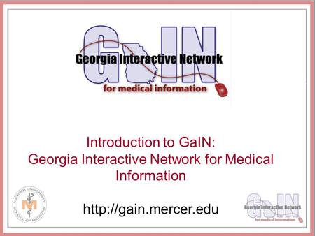 Introduction to GaIN: Georgia Interactive Network for Medical Information