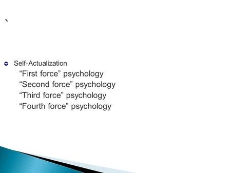 "` ➲ Self-Actualization –""First force"" psychology –""Second force"" psychology –""Third force"" psychology –""Fourth force"" psychology."