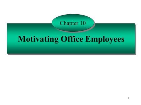 1 Motivating Office Employees Chapter 10. 2 Motivation is Affected by a Number of Basic Human Traits Ability Aptitude Perceptions Self-confidence Values.