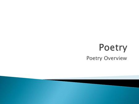 Poetry Overview.  The mode of expressing thought in writing or speaking by selecting and arranging words, giving consideration to clearness, effectiveness,