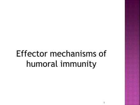 Effector mechanisms of humoral immunity 1  Physiologic function of Abs is defence against extracellular microbes and microbial toxins  Defects in Ab.