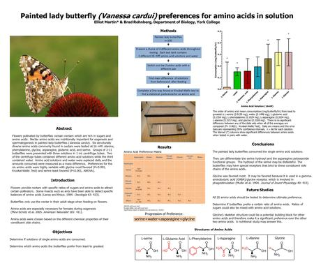 Painted lady butterfly (Vanessa cardui) preferences for amino acids in solution Elliot Martin* & Brad Rehnberg, Department of Biology, York College Introduction.