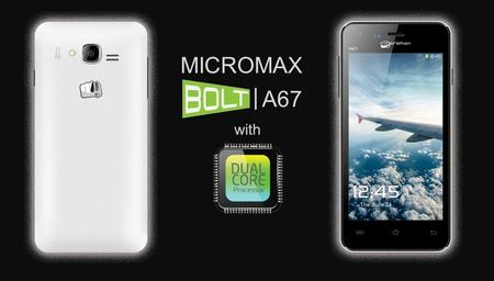 A67 | MICROMAX with. Android Version Android 4.0.3 Form Factor Full touch Network ModeGSM900/DCS1800, EDGE Processor1GHz Cortex A5 Dual-core.