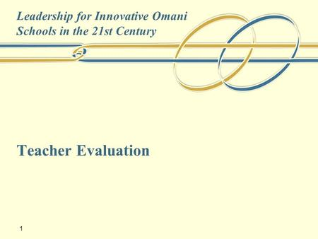 1 Teacher Evaluation Leadership for Innovative Omani Schools in the 21st Century.