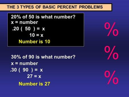 20% of 50 is what number? THE 3 TYPES OF BASIC PERCENT PROBLEMS.20( )50=x 10 = x Number is 10 x = number 30% of 90 is what number? x = number.30( )90=x.