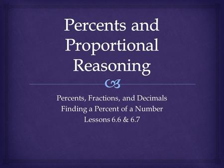 Percents, Fractions, and Decimals Finding a Percent of a Number Lessons 6.6 & 6.7.