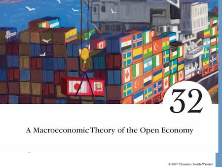 © 2007 Thomson South-Western. A Macroeconomics Theory of the Open Economy Open Economies An open economy is one that interacts freely with other economies.