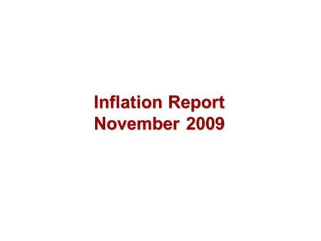 Inflation Report November 2009. Output and supply.