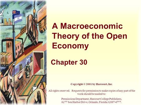 A Macroeconomic Theory of the Open Economy Chapter 30 Copyright © 2001 by Harcourt, Inc. All rights reserved. Requests for permission to make copies of.