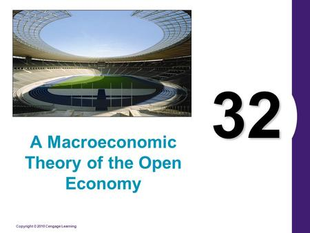 Copyright © 2010 Cengage Learning 32 A Macroeconomic Theory of the Open Economy.