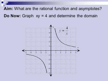 Aim: What are the rational function and asymptotes? Do Now: Graph xy = 4 and determine the domain.