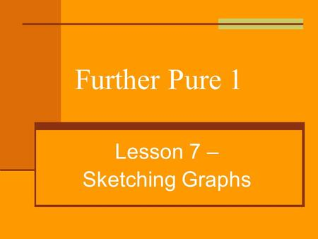 Further Pure 1 Lesson 7 – Sketching Graphs. Wiltshire Graphs and Inequalities Good diagrams Communicate ideas efficiently. Helps discovery & understanding.