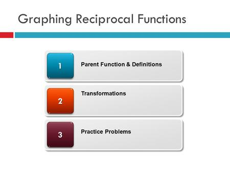 Graphing Reciprocal Functions 33 22 11 Parent Function & Definitions Transformations Practice Problems.
