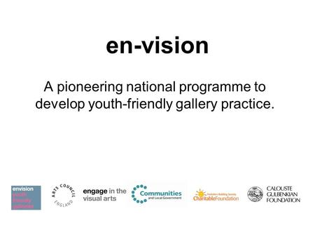 En-vision A pioneering national programme to develop youth-friendly gallery practice.