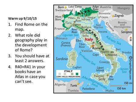 Warm up 9/10/15 1.Find Rome on the map. 2.What role did geography play in the development of Rome? 3.You should have at least 2 answers. 4.R40+R41 in your.