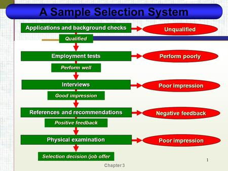 Chapter 3 1 A Sample Selection System Applications and background checks Employment tests Interviews References and recommendations Unqualified Qualified.