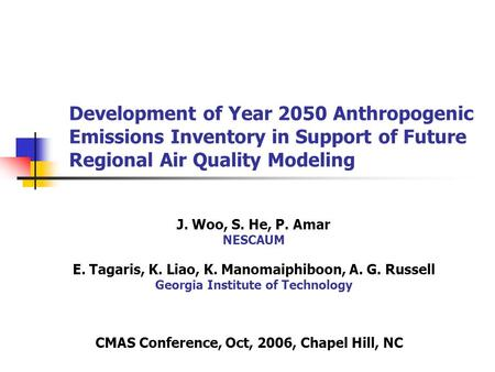Development of Year 2050 Anthropogenic Emissions Inventory in Support of Future Regional Air Quality Modeling J. Woo, S. He, P. Amar NESCAUM E. Tagaris,