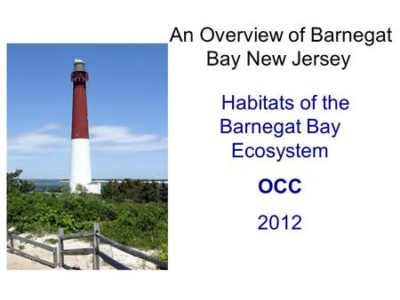 An Overview of Barnegat Bay New Jersey Habitats of the Barnegat Bay Ecosystem OCC 2012.