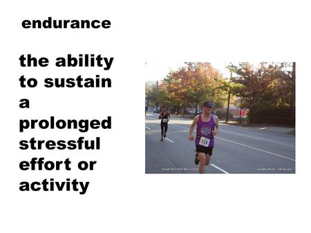 Endurance the ability to sustain a prolonged stressful effort or activity.