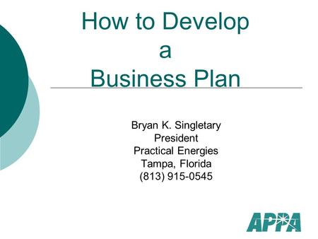 How to Develop a Business Plan Bryan K. Singletary President Practical Energies Tampa, Florida (813) 915-0545.