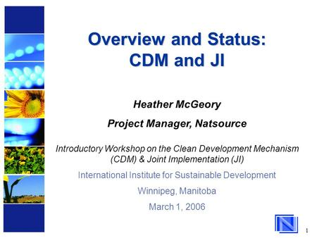 1 Overview and Status: CDM and JI Heather McGeory Project Manager, Natsource Introductory Workshop on the Clean Development Mechanism (CDM) & Joint Implementation.