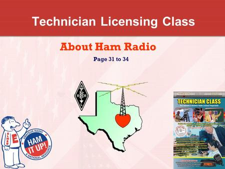 Technician Licensing Class About Ham Radio Page 31 to 34.