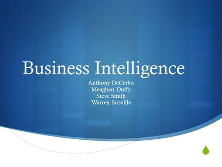  Business Intelligence Anthony DeCerbo Meaghan Duffy Steve Smith Warren Scoville.