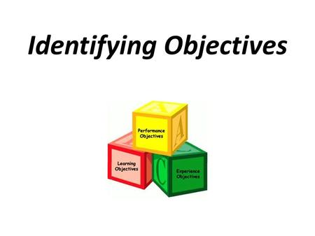 Identifying Objectives. Objectives NEED to be directed toward student growth, achievement and success… IT IS ALL ABOUT OUR STUDENTS.