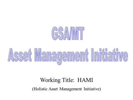 Working Title: HAMI (Holistic Asset Management Initiative)