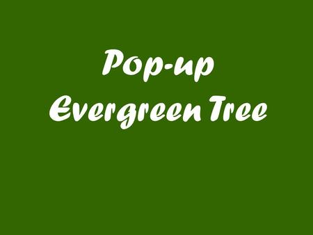 Pop-up Evergreen Tree. Designed by Robert Sabuda.