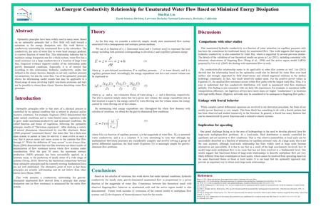 An Emergent Conductivity Relationship for Unsaturated Water Flow Based on Minimized Energy Dissipation Hui-Hai Liu Earth Sciences Division, Lawrence Berkeley.