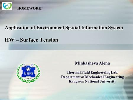 HOMEWORK Application of Environment Spatial Information System HW – Surface Tension Minkasheva Alena Thermal Fluid Engineering Lab. Department of Mechanical.